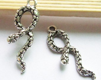 Snake Charms -15pcs Antique Silver Snake Charm Pendants 11x33mm AA403-3