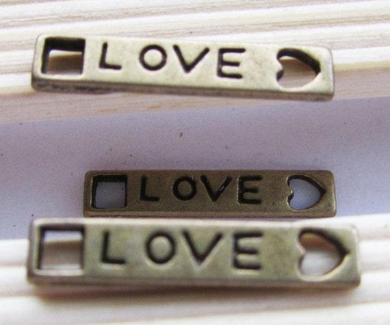 30pcs Antique Bronze Love Connector Charms Pendant with Heart 4x22mm C409-1