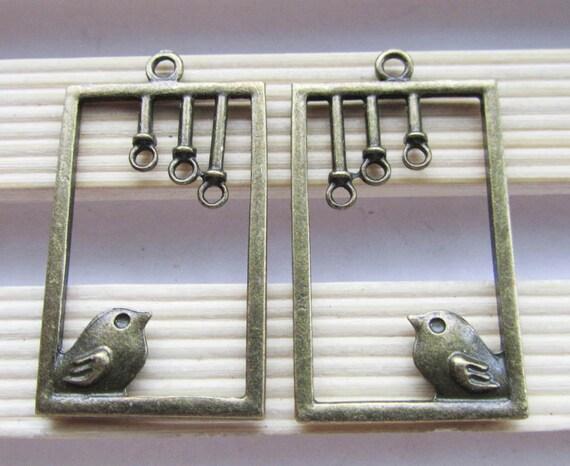 Bird cages -12pcs Antique Bronze Birdcage Charm and Pendants 24x41mm C202-1