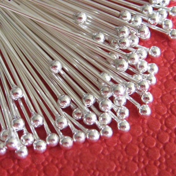 200pcs Silver Plated Brass Ball End Head Pin 40mm - 24g W156
