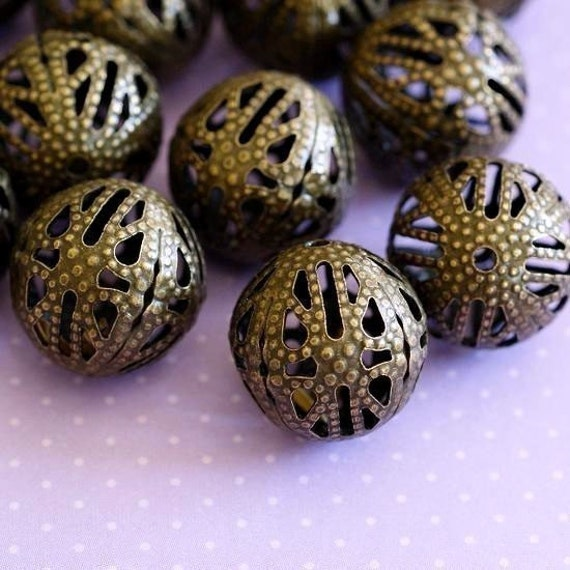 Ball Beads - 50pcs Antique Bronze Spacer Beads Charm Filigree 12mm B402-2