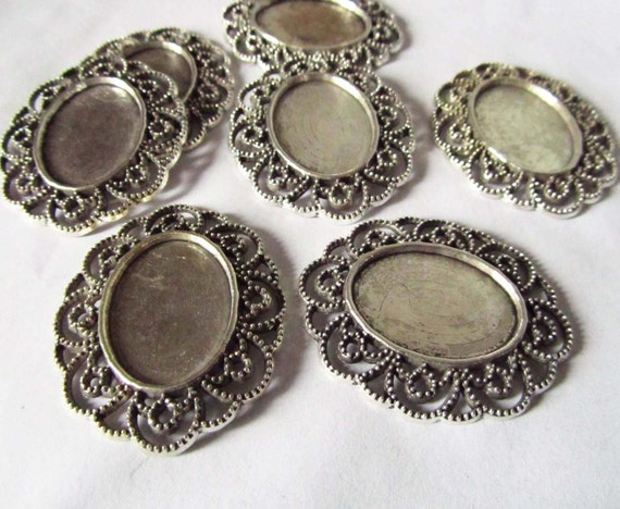 Cabochon Base -10pcs Antique Silver Bezel Tray Charm Pendants 18x25mm A101-1