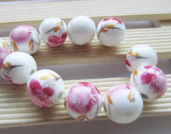 Ceramic Beads -10pcs Chinese Hand Painted Pink Ball Bead Earring Findings 12mm
