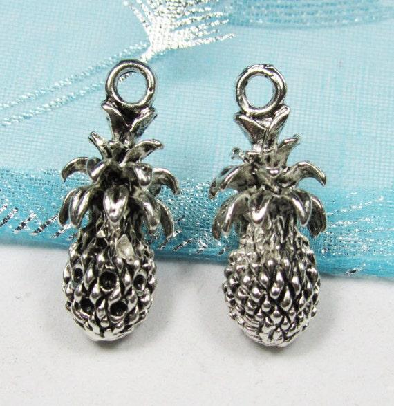 Pineapple Charms -15pcs Antique Silver Acorn Charm Pendants Pine Seed, Pine Apple 10x23mm A308-6