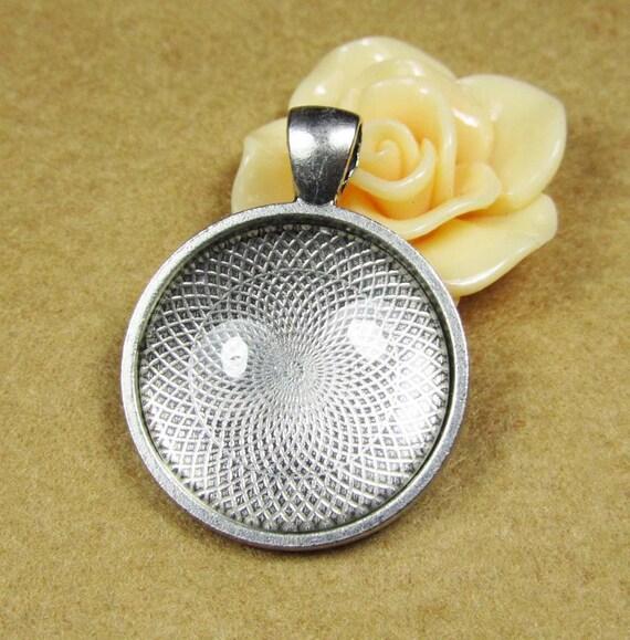 Cabochon Base Setting -5pcs Antique Silver Round Cameo Charm Pendants 25mm A201-1