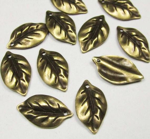 Leaf Charms -25pcs Antique Bronze Leave Charm Pendants 14x25mm C305-3