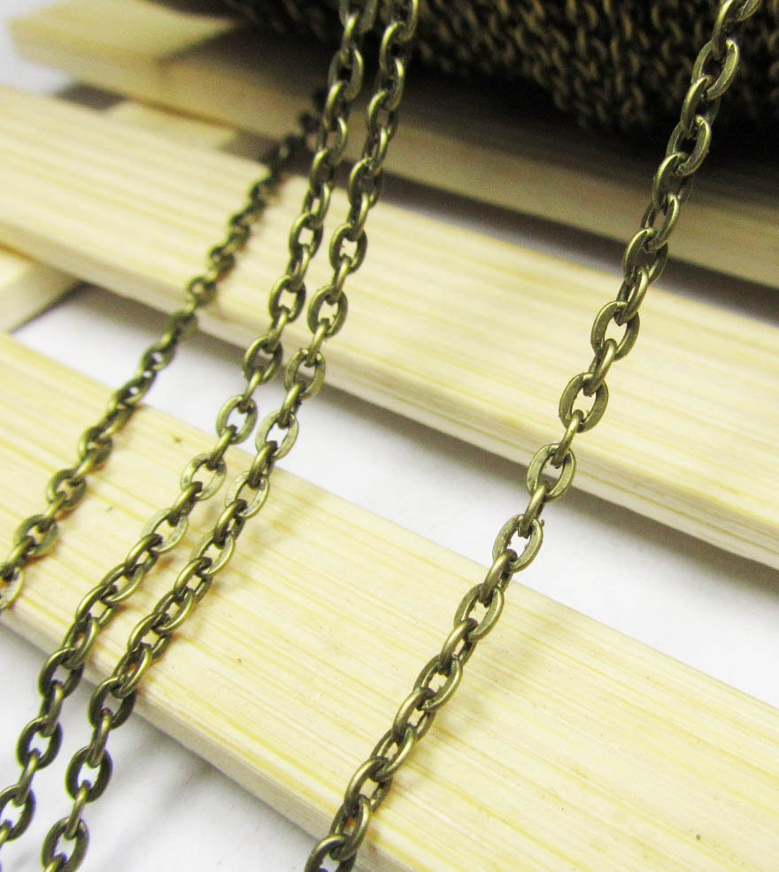16ft 5 meters 2x3mm Antique Bronze Flat Cable Link Chain Jewelry Findings W167 steampunk buy now online