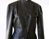 Black Leather Jacket - Size Small - 80s Awesome Button Up