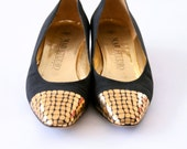 1970s Vintage Mab Studio Designer Italian Black Suede with Awesome gold detail - size 7.5