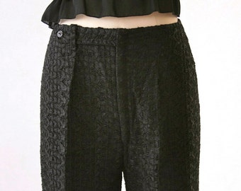 Sassy Black Lace Ribbon Italian palazzo pants - Size 2 or 4  - GORGEOUS