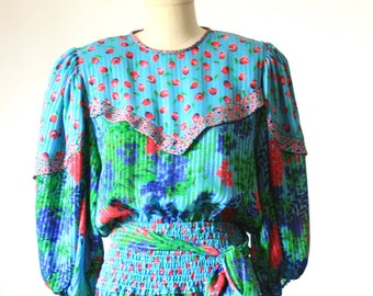 Adorable Floral Dress - 3/4 Sleeve- Size Small - Bright Neon Blue Pink Green