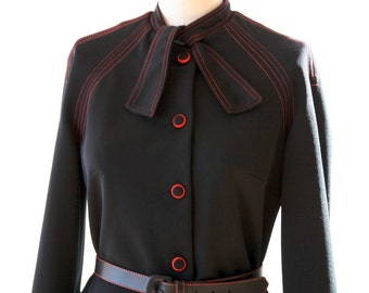 Secretary Ascot Dress - Black Dress with Red Piping - Vintage Size Small