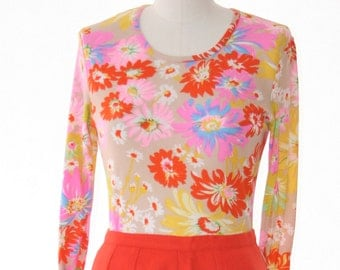 Neon Floral Top - So Cute - Size Small - Vintage Ladies Blouse