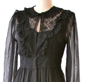 Gorgeous 1940's Nightgown and Lace Robe - Size Small