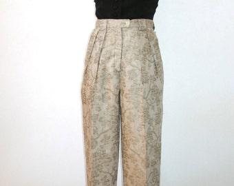 CLAUDE BARTHELEMY Paris - White Gold Wine Grapes Gold Linen Pants - Size 4