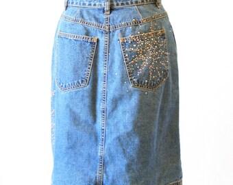 Escada Jean Denim Skirt - Studded  - Size 2 or 4 - Size Small