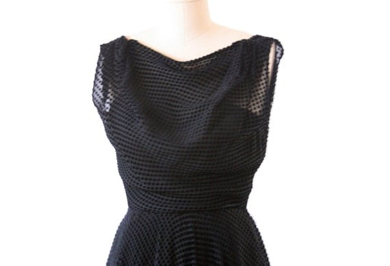 RESERVED Black Evening Dress - 1950-1960's - GORGEOUS Size Small - Neusteters