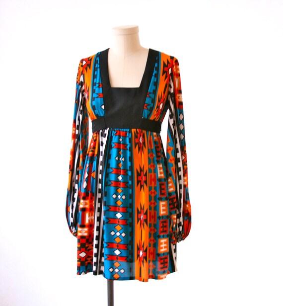 Indian Print Dress - So Cute 80's Size Small  - Orange