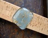 CORK CUFF bracelet with wide blue tint glass