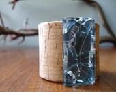 Eco-Friendly CORK CUFF Bracelet with Encased Broken Glass