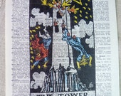 Dictionary Art Print - Upcycled Vintage Paper - The Tower - Tarot Card Print - 7-3/4 x 10-3/4