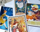 Halloween Witches Postcard Set - Vintage Images - Volume I - Set of 4 cards - 5-1/2 X 4-1/4