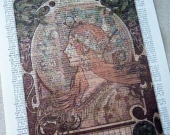Alphonse Mucha Print - Zodiac - Dictionary Art Print - Upcycled Vintage Paper - 7-3/4 x 10-3/4