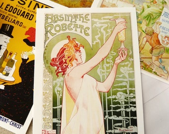 Absinthe Posters Postcard Set - Set of 4 cards - 5-1/2 X 4-1/4