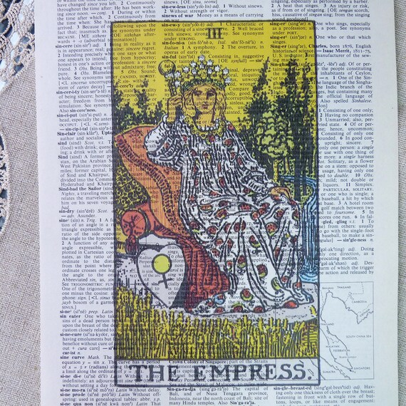 Dictionary Art Print - Upcycled Vintage Paper - The Empress - Tarot Card Print - 7-3/4 x 10-3/4
