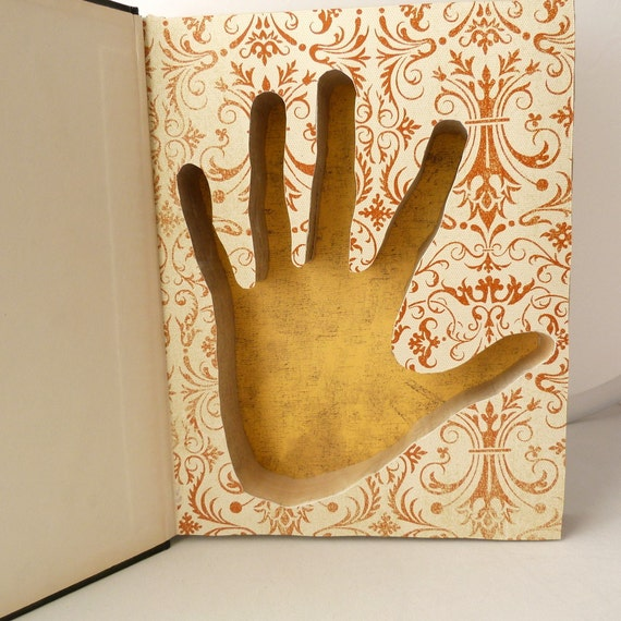 Book Safe - Hollow Book -Handprint Silhouette - Russian-English Dictionary