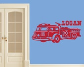 NEW Personalized Fire Truck Design Wall Decal for Boys Bedroom. Many Colors, 50 Inches Wide. Fireman