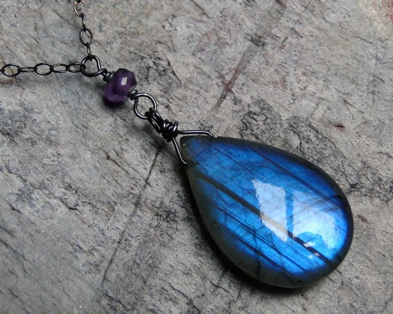 Labradorite Necklace with Amethyst on Oxidized Sterling Silver - Violet by Inkin on Etsy