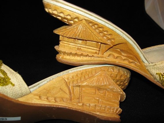 1960s / Pagoda Shoes / Asian Shoes / Carved Wooden Heels / 60s / Slides / Beaded Vamp / Summer Shoes / Wedge Heel