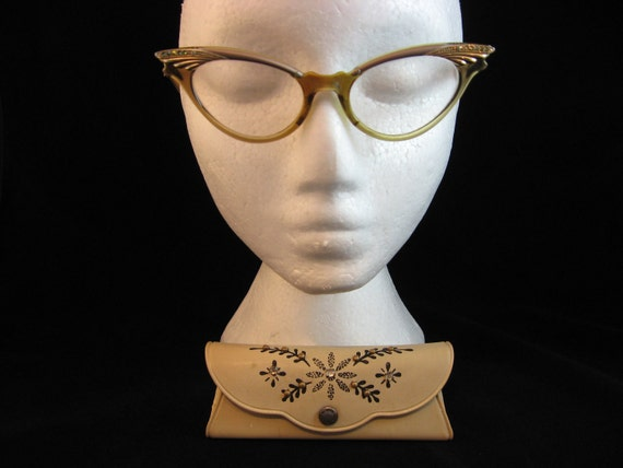 Vintage Cat Eye Glasses / 1960s / Ladies Glasses / Cat's Eye Glasses / Rhinestones / Gold and Champagne Colour/ 60s