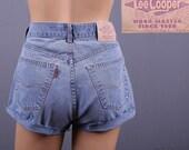 High Waist Patina Blue Shorts / Cut Off Denim / M / Waist 29