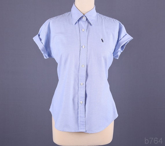 Vintage 80s Ralph Polo Slim Fit Poplin Shirt / Light Blue Cotton Shirt / L XL