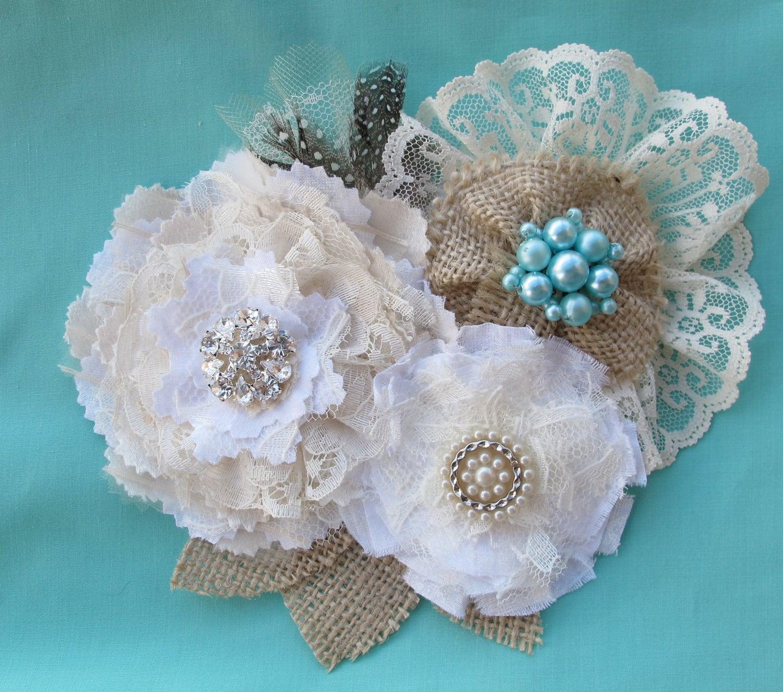 Rustic Burlap Lace Wedding Sash Hair Vintage Floral Pin Clip