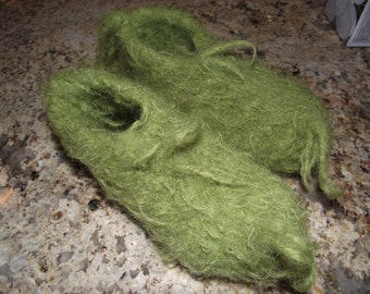 Kids Green fuzzy furry Feet- Kids request your SIZE