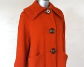 Vintage 60s mod car coat, orange, hand knitted with large round star buttons, pockets and satin lining
