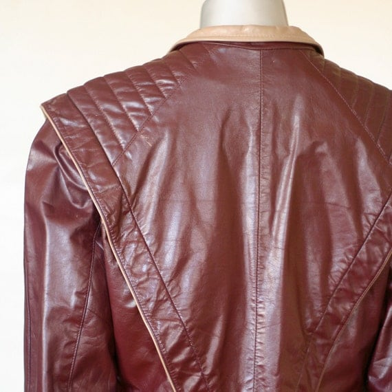 Vintage 80s leather jacket, Thriller replica, brown red with mauve lining and collar, pockets and satin lining