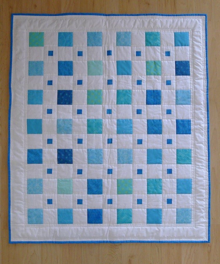 Blue Boy BABY QUILT Modern Squares