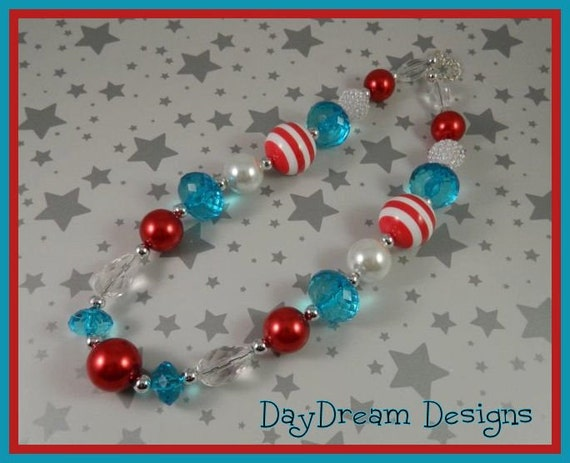 Little Girls Red, white and Blue necklace