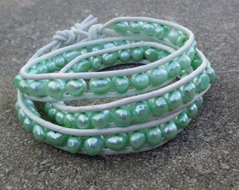Leather and  pearl wrapped bracelet