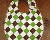 Argygle Baby Boy Reversible Bib Green/Brown
