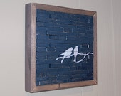 RESERVED FOR FAYE - Bird Series - Original Painting (White and Navy)
