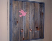 ON SALE - Reclaimed Wood Coat Rack (Pink Bird)
