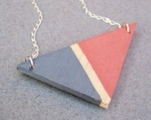 Reclaimed Wood Coral and Gray Color Block Triangle Necklace