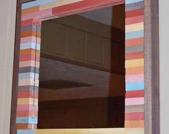 ON SALE - Reclaimed Wood Mirror (Multi Color)