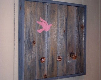 ON SALE - Reclaimed Wood Coat Rack (Pink Bird)