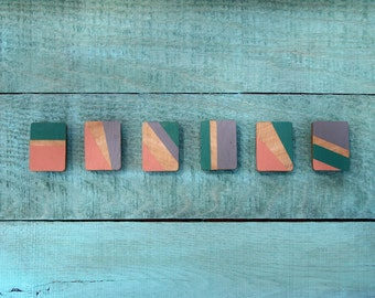 Reclaimed Wood Hand Painted Color Block Magnets (Turquoise, Gray, & Coral)